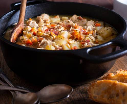 Potato Chicken Soup with Bacon in a Cast Iron Dutch Oven