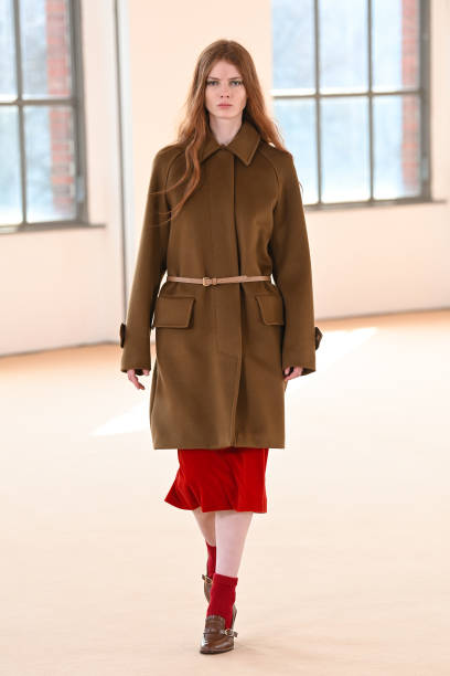 MILAN, ITALY - FEBRUARY 25: Look 32 at the Max Mara Fall/Winter 2021-2022 show during Milan Fashion Week on February 25, 2021 in Milano, Italy. (Photo by Daniele Venturelli/Daniele Venturelli/ Getty Images for Max Mara)
