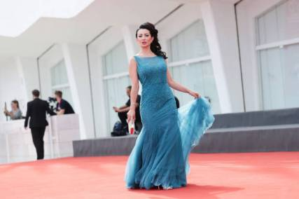 """VENICE, ITALY - SEPTEMBER 07: Flora Vona attends the red carpet of the movie """"Vidblysk"""" during the 78th Venice International Film Festival on September 07, 2021 in Venice, Italy. (Photo by Vittorio Zunino Celotto/Getty Images)"""