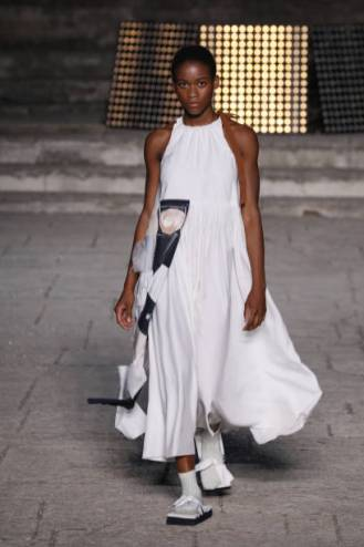ROME, ITALY - JULY 08: A model walks the runway wearing an Ellementi dress at the Rome is My Runway #1 fashion show during Altaroma 2021 at Cinecitta Studios on July 08, 2021 in Rome, Italy. (Photo by Ernesto S. Ruscio/Getty Images)