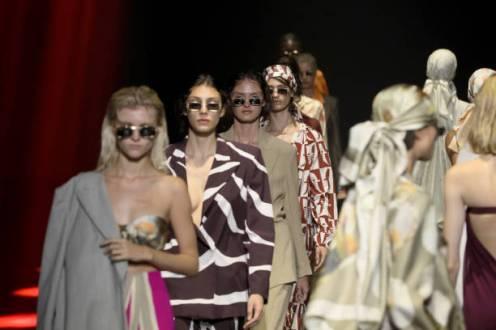 "ROME, ITALY - JULY 09: Models walk the runway at the Edoardo Gallorini ""Estasi Mediterranea"" fashion show during Altaroma 2021 at Cinecitta Studios on July 09, 2021 in Rome, Italy. (Photo by Ernesto S. Ruscio/Getty Images)"