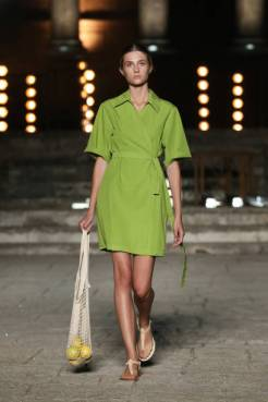 ROME, ITALY - JULY 09: A model walks the runway wearing an Eticlo dress at the Rome Is My Runway #2 fashion show during Altaroma 2021 at Cinecitta Studios on July 09, 2021 in Rome, Italy. (Photo by Elisabetta Villa/Getty Images)