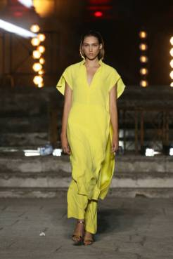 ROME, ITALY - JULY 09: A model walks the runway wearing a Sartoria 74 dress at the Rome Is My Runway #2 fashion show during Altaroma 2021 at Cinecitta Studios on July 09, 2021 in Rome, Italy. (Photo by Elisabetta Villa/Getty Images)