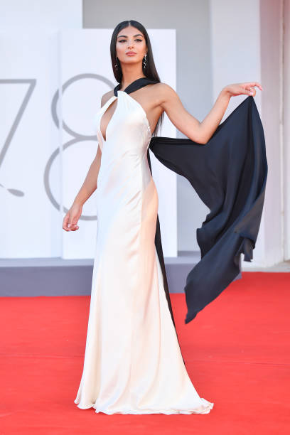 """VENICE, ITALY - SEPTEMBER 02: Elisa Maino attends the red carpet of the movie """"The Hand Of God"""" during the 78th Venice International Film Festival on September 02, 2021 in Venice, Italy. (Photo by Stephane Cardinale - Corbis/Corbis via Getty Images)"""