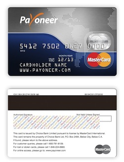 Payoneer Card Sample