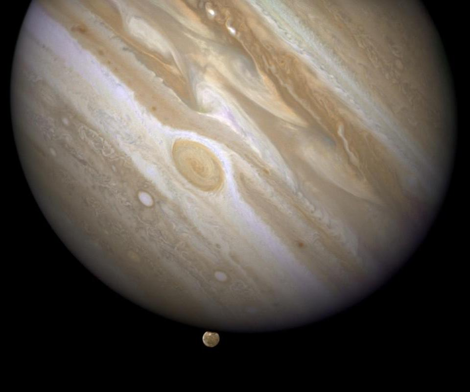 At 317 the mass of Earth, Jupiter is the largest and most massive planet in the solar system, and it also boasts the largest storm: the Great Red Spot, as seen here.