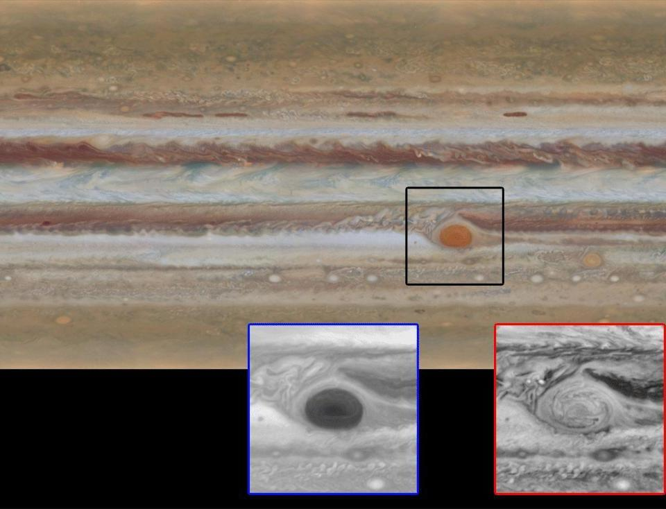 Zooming in on the Great Red Spot at blue (left) and red (right) wavelengths reveals a unique filamentary feature that had never been seen before. There is still much to learn about this spot.