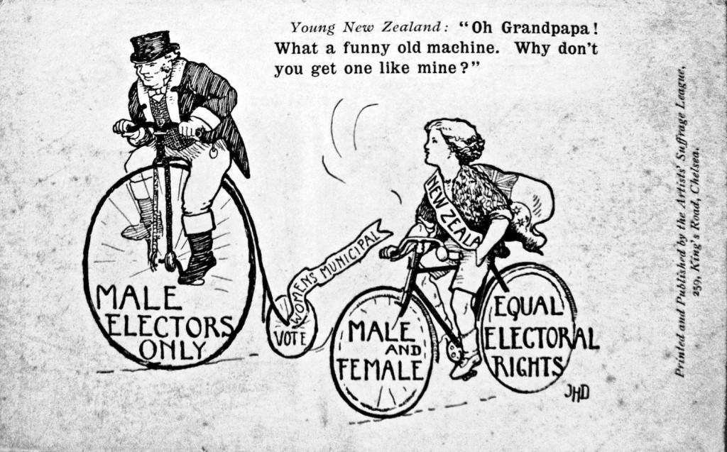 """""""¡Oh! Abuelito, qué máquina tan rara y vieja. ¿Por qué no te haces con una como la mía?"""". Cartel de 1907 de la Liga Sufragista - (Museo de Londres)"""