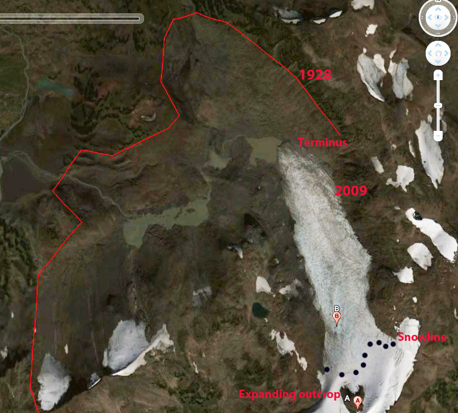 Satellite imagery from 2009 outlining the Helm Glacier's historical extent. Imagery credit Mauri Pelto,