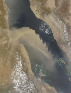 A satellite image from the NASA Moderate Resolution Imaging Spectrometer (MODIS) instrument onboard the Terra satellite captured this dust storm moving over Red Sea on July 8, 2013.  Credit: MODIS Rapid Response Team.