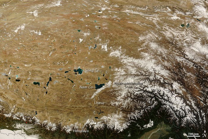 The high mountain glaciers of the Tibetan Plateau feed thousands of alpine lakes that form the headwaters of many of Asia's major rivers. Credit: NASA image courtesy Jeff Schmaltz, MODIS Rapid Response Team, Goddard Space Flight Center.