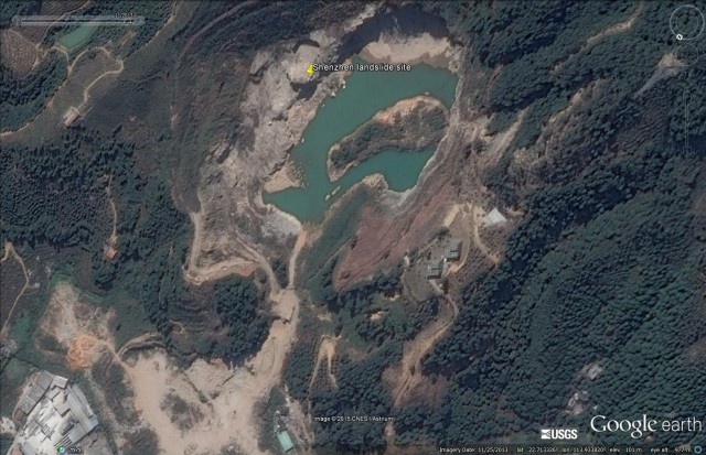 The Shenzhen, Guangdong landslide in China on 25 November 2013. Image via Google Earth.