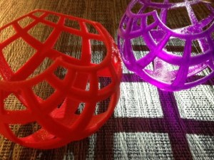 3D prints of Henry Segerman's stereographic projection models. Image: Laura Taalman. Used with permission.