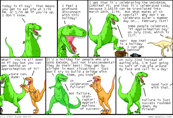 I too feel a profound disconnect to this holiday! Image: Dinosaur Comics by Ryan North.