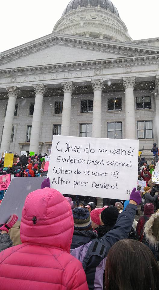 A marcher carries a pro-science sign at the Utah Women's March on Monday, January 23, 2017. Image: Monica Hymas Rasmussen.