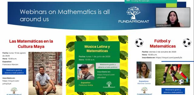 Screenshot from Jeanette Shakalli's talk on math outreach in Panama during the pandemic. Image shows three flyers in Spanish promoting math outreach events held in 2020.