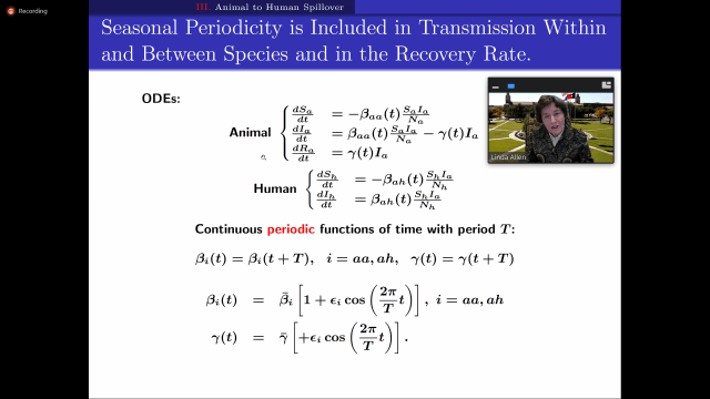 Screenshot showing the set of differential equations for a SIR model of a zoonotic spillover event.