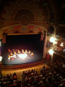 """Teatro Juarez, before the show. The group played medieval, renaissance, and colonial music, and were called """"Los Tiempos Pasados""""."""