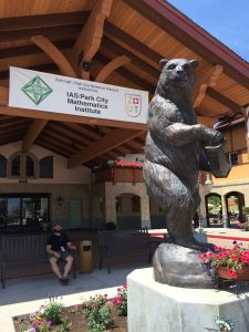 The front entrance to the Hotel der Baer, featuring the titular accordion-playing bear, and Corey Manack (Franklin & Marshall).