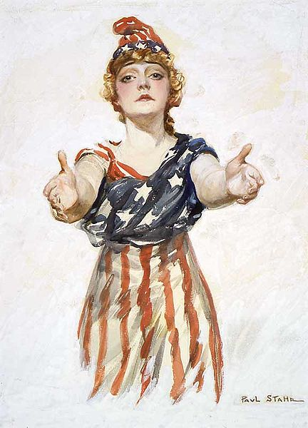 """Original design for the """"Be Patriotic"""" poster by Paul Stahr, 1917-18. Public Domain, from Wikipedia"""
