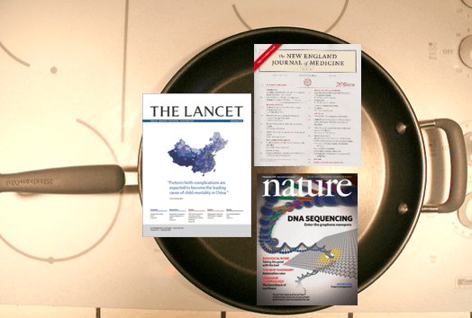 skillet full of academic research journals