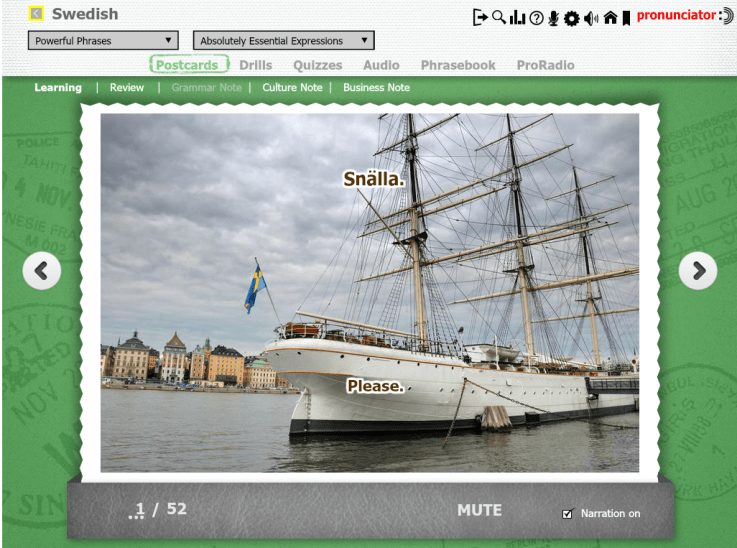 "A boat in the Stockholm harbor, under a leaden sky.  The Swedish word for Please, ""Snalla"" perched on the mast."