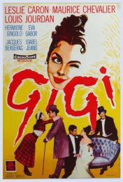 Cover of Gigi. There's a painting of a girl winking and some dapper people below it.