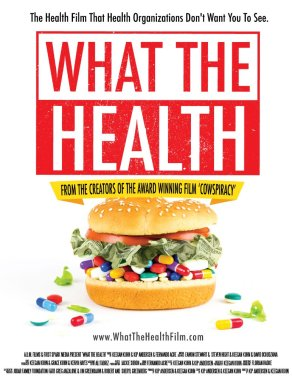 Cover of What the Health where this is a burger but with pills and money instead of beef patty.