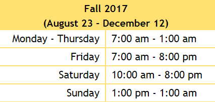 hours for the library in a chart.