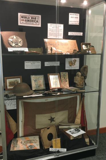 Display case featuring WWI artifacts