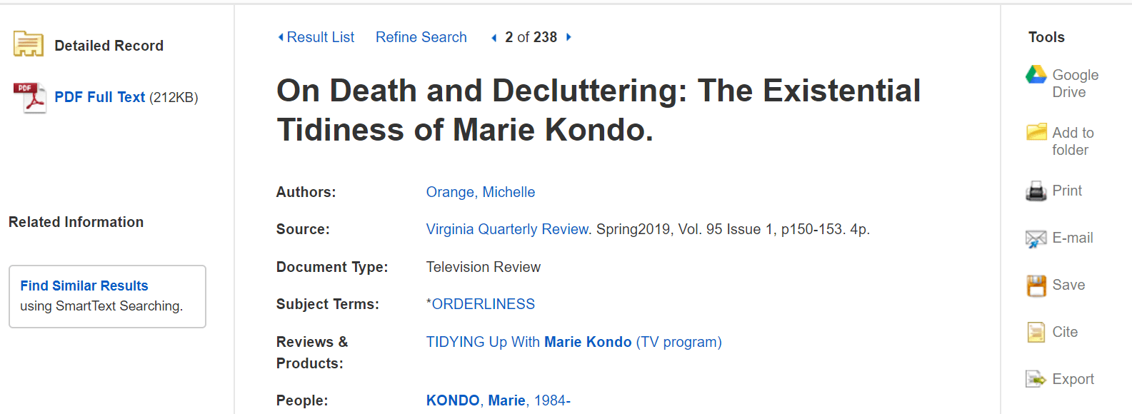 "Article screenshot titled ""On Death and Decluttering: The Existential Tidiness of Marie Kondo"