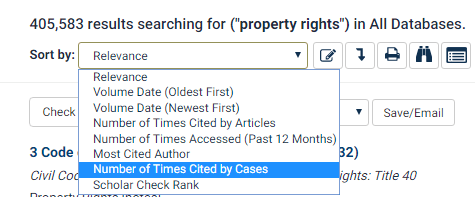 Screenshot of article sorting options like Number of Times Cited By Cases, Scholar Check Rank, Date, Number of Times accessed