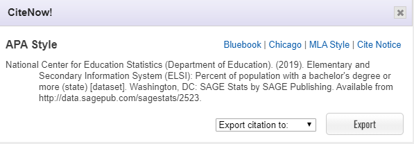 Screenshot showing citation window, where one could cite data chart in APA or MLA or other citation styles