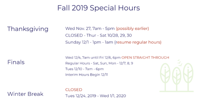 full schedule of special hours for Fall 2019