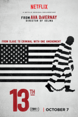 Movie poster depicting an black and white american flag bleeding into a black figure wearing prison strips in shackles
