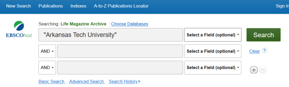 """Screenshot of main search box for the database, featuring """"Arkansas Tech University"""" as a search term in quotation marks"""