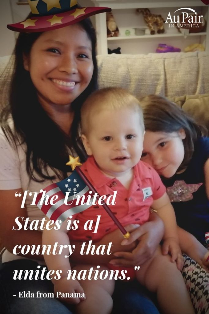Au pair and her host children celebrating Fourth of July in the United States | Au Pair in America