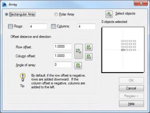 Classic AutoCAD Array dialog box