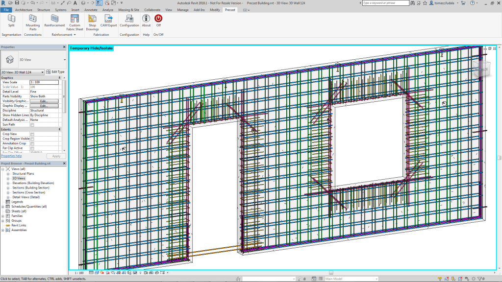 Autodesk Structural Precast for Revit, precast solid wall assembly