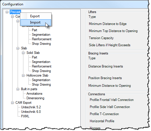 The Configuration settings can be imported or exported via XML files