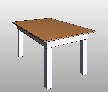 Table used in demo of Revit families