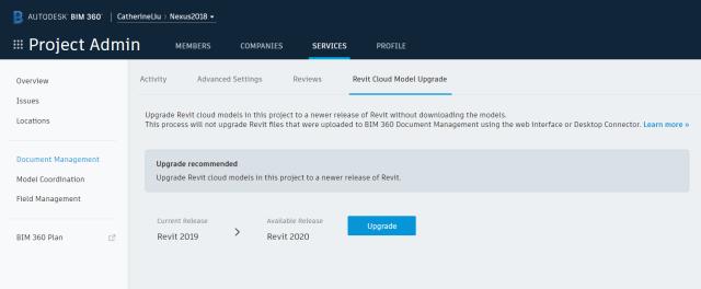 Cloud Models for Revit upgrade