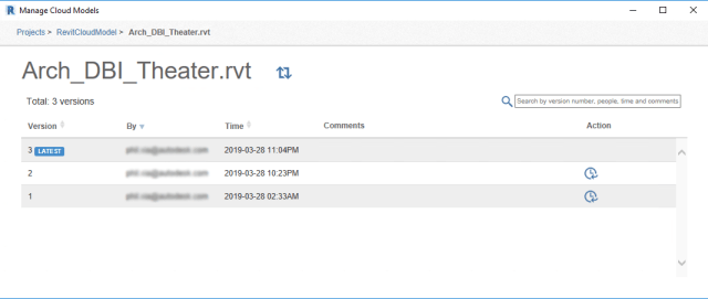 versioning with Cloud models for Revit