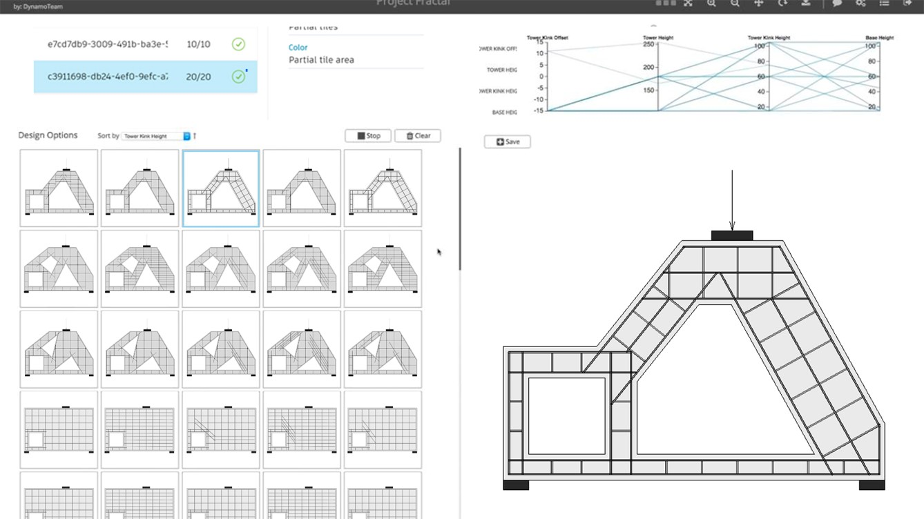 A screen capture of a Refinery study illustrating the various 'macro' forms of a concrete beam and the automated layout of rebar and ties within each iteration.