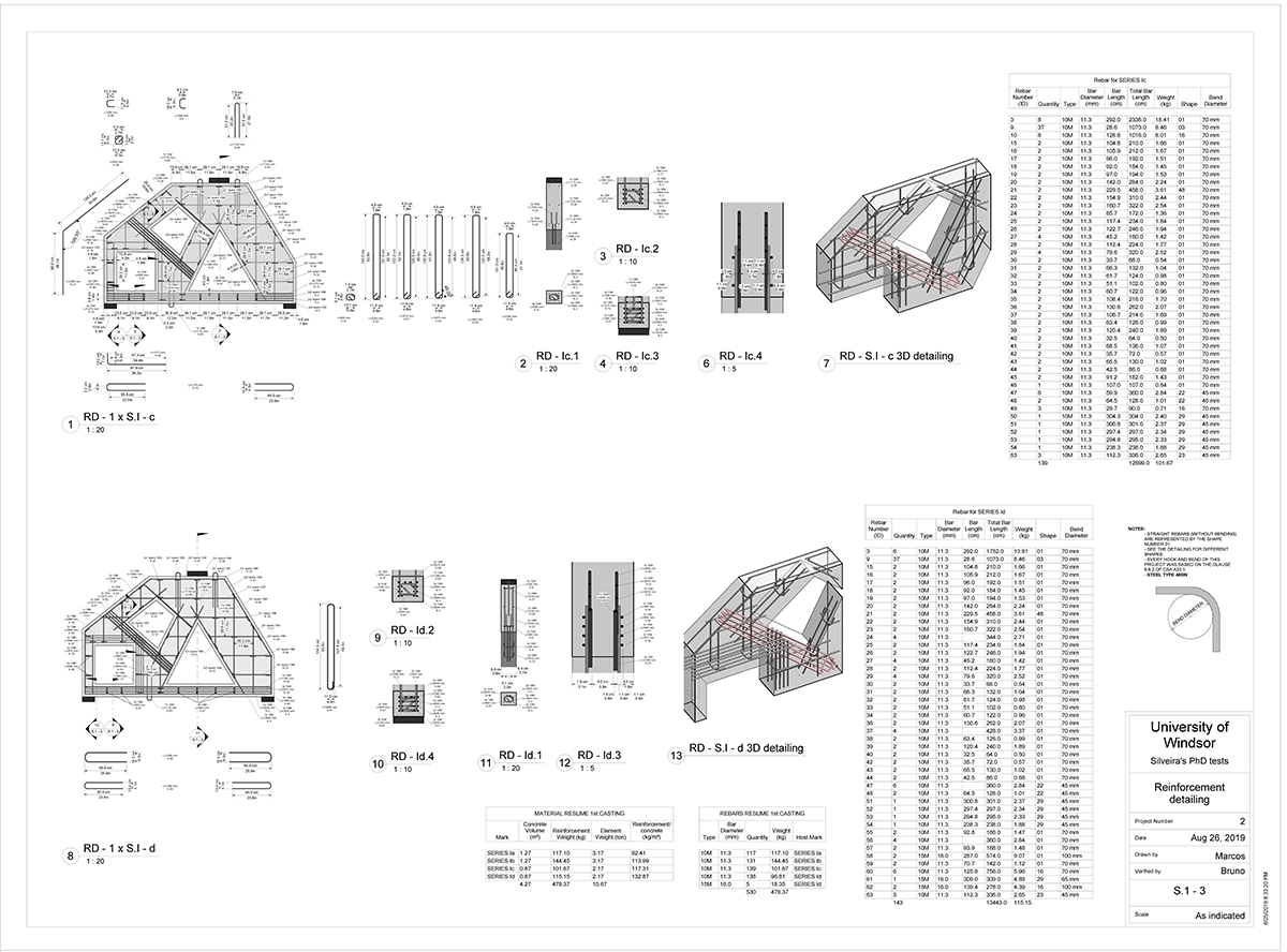 Rebar and tie detailing page made within Revit after a preferred candidate was generated and evaluated from Dynamo and Refinery.