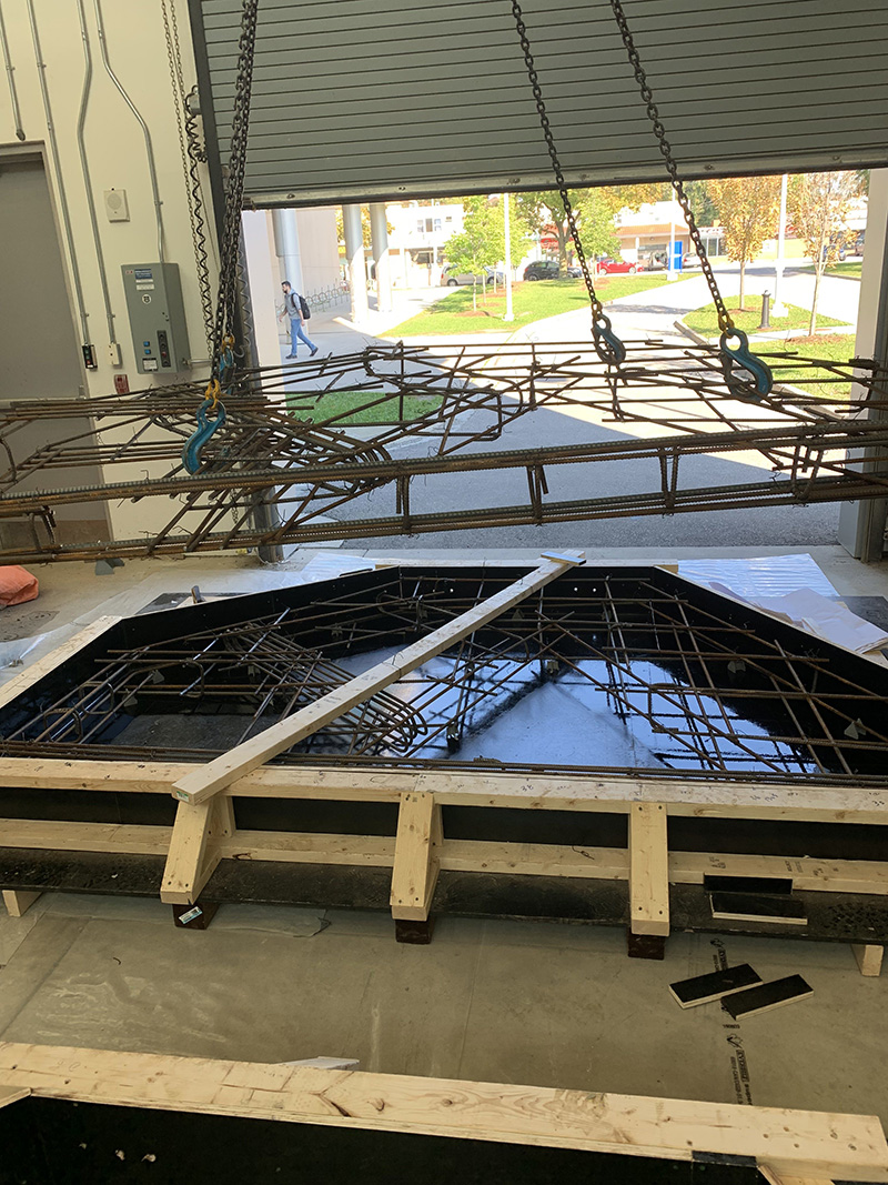 Photo taken from the University of Windsor (Ontario, Canada) where 1:1 fabrication tests of the geometry and rebar are being created for physical testing.