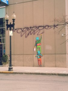 The outdoor graffiti by Os Gemeos and Gustavo Pandolfo