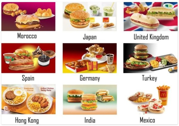 McDonald's food items from around the world
