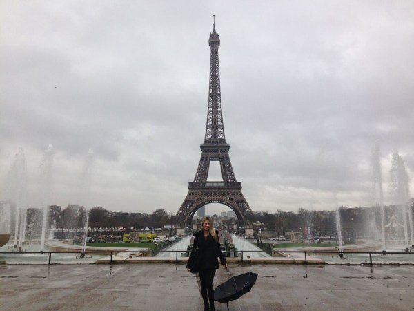 Student at Eiffel Tower in France
