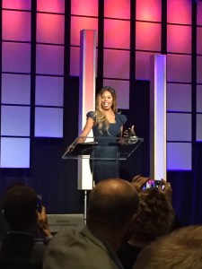 Laverne Cox speaking at the 2015 ROMBA Conference
